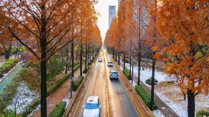 Papier Peint - 4k Timelapse Traffic of Gangnam City in Seoul,South Korea