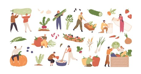 Set of various tiny people with different food and products isolated on white background. Collection of cartoon person with organic farm harvest vegetable, drink and meal vector graphic illustration Fototapete