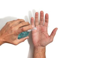 Obraz Usuwanie wirusów z rąk przez dezynfekcję - fototapety do salonu