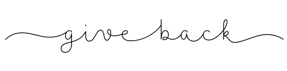GIVE BACK black vector monoline calligraphy banner with swashes