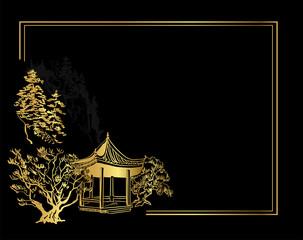Printed kitchen splashbacks Black Buddhism temple card nature landscape view landscape card vector sketch illustration japanese chinese oriental line art