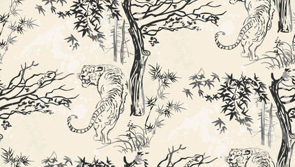 tiger vector japanese chinese nature ink illustration engraved sketch traditional textured seamless pattern
