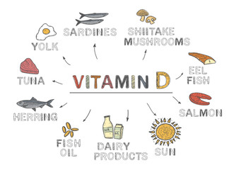 Vitamin D, infographics. Foods rich in vitamin D. natural products on white background. Healthy lifestyle concept