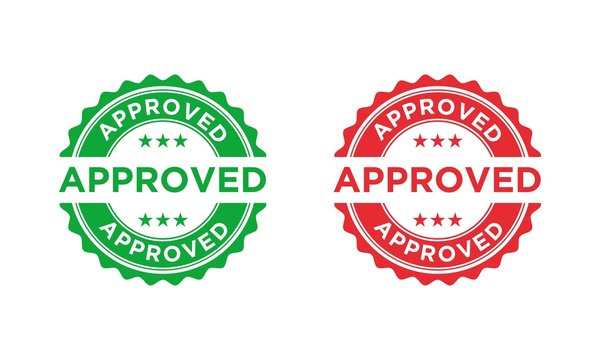 Approved stamp, label, sticker or stick flat vector icon
