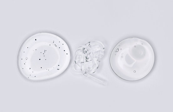 hyaluronic acid on white background. Top view, flat lay.