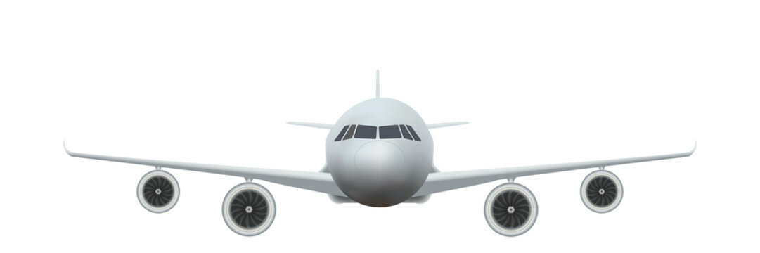 Front view of Civil Aircraft take-off on the chassis  isolated on background. Public or private plane as business and travel design concept. Vector Illustration.
