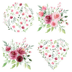 Watercolor floral set with bouquets  flowers. Pink and burgundy roses hand drawing. Isolated on white. Perfectly for print design greeting card, wedding decoration, poster.