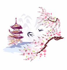 Wall Murals White building landscape nature landscape view vector sketch illustration japanese chinese oriental line art ink card background