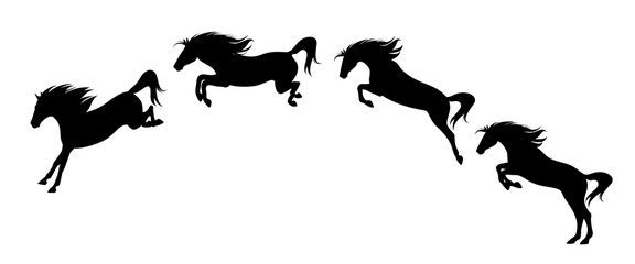horse jump motion phases - black vector side view silhouette set of free mustang rushing forward