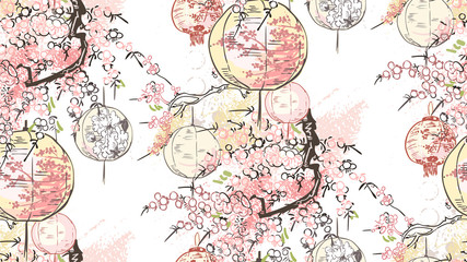 paper lanterns nature landscape view vector sketch illustration japanese chinese oriental line art ink seamless pattern