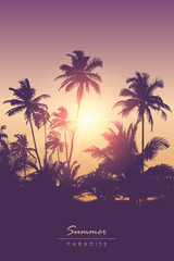beautiful sunset in the tropical palm forest realistic landscape vector illustration EPS10