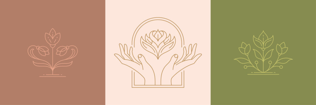 Vector line minimal decoration design elements set - flowers and gesture hands illustrations simple linear style