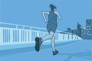 Corredora practicando deporte con la ciudad al fondo