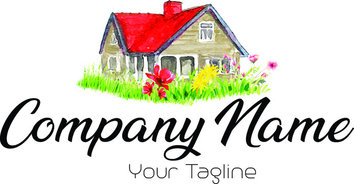 Watercolor house logo  with flowers around it, real estate logo
