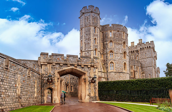 WINDSOR, ENGLAND – December 31 , 2014: Architectural fragments of Medieval Windsor Castle. Windsor Castle is a royal residence at Windsor in the English county of Berkshire...