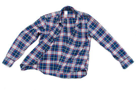Blue men's cotton plaid shirt isolated on white background