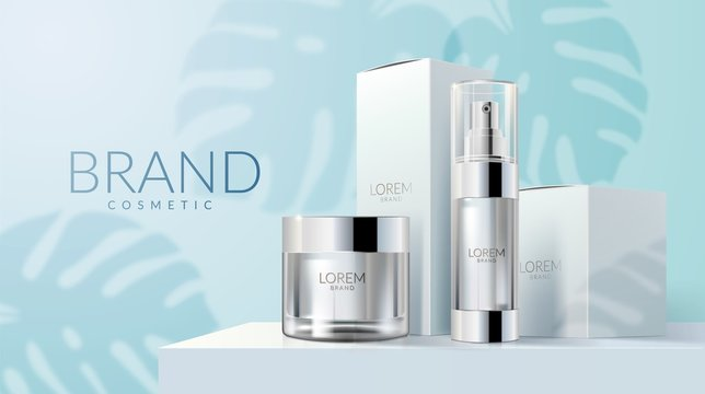 Realistic Skin care product set ads with white bottles on blue square podium stage and palm leaves shadows in 3d vector illustration