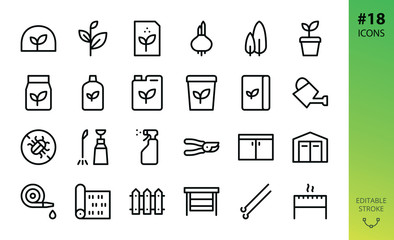 Garden isolated icons set. Set of greenhouse, glasshouse, lawn roll, plant seeds, organic fertilizers, soil bag, secateurs, garden storage box and shed, bulbous flower, garden swing vector icon