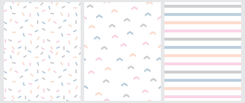 Marine Style Seamless Vector Patterns with Blue, Pink and Gray Arrows, Short Lines and Stripes Isolated on a White Background. Simple Pastel Color Geometric Repeatable Design. Cute Striped Print.