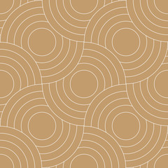 Abstract retro pattern of geometric shapes. Golden mosaic backdrop. Geometric wave of circles  background, vector