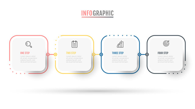 Business infographic label design thin line process with square objects. Timeline with 4 options or steps.