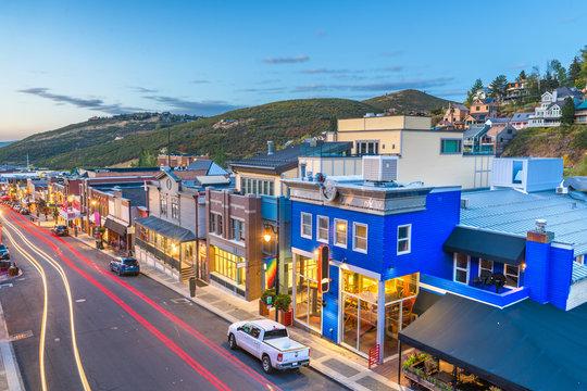 Park City, Utah, USA Town View Over Main Street