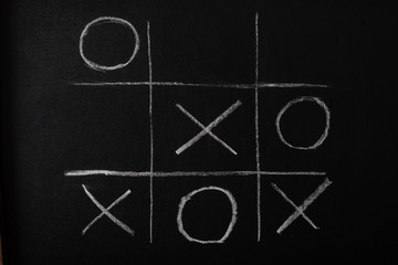 top view of tic tac toe game on blackboard with chalk grid, naughts and crosses Wall mural
