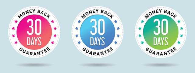 30 Days Money Back Guarantee stamp vector illustration. Vector certificate icon. Set of 3 beautiful color gradients. Vector combination for certificate in flat style.