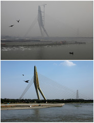 A combination picture shows birds flying over the waters of the Yamuna river near the Signature bridge in New Delhi