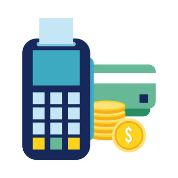 credit card with voucher flat style icon