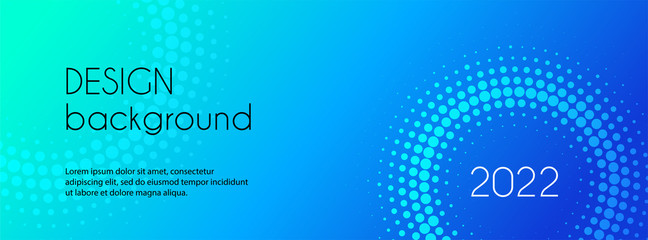 Vector long banner template. Abstract blue gradient background with halftone circles