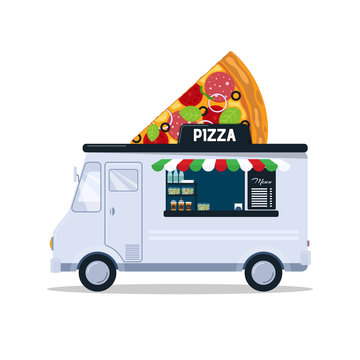Pizza food truck isolated on white background. Fast food truck in cartoon style