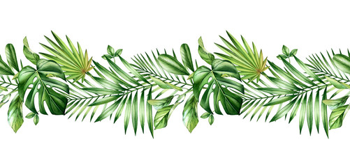 Watercolor tropical seamless border. Repetetive pattern. Horizontal decoration with jungle greenery. Exotic palm leaves, monstera, isolated on white. Botanical hand drawn illustration Wall mural