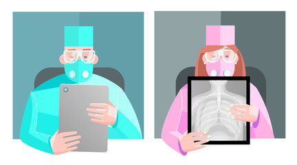 Vector stock image. Doctor is looking at an x-ray of the lungs, consultation. Making advertising and informational literature of web articles and printed materials.