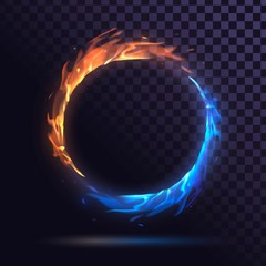 Ring with blue and red fire, burning round frame on a transparent background