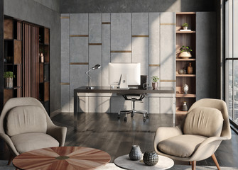 Wall Mural - Modern home office interior in loft, industrial style, 3d render