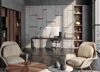 Fotomurais - Modern home office interior in loft, industrial style, 3d render