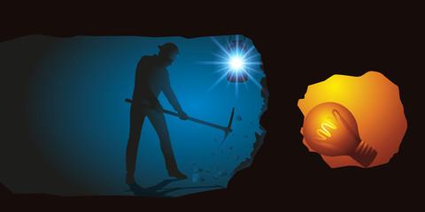 Concept du brainstorming avec un homme qui creuse un tunnel pour trouver une idée lumineuse, symbolisée par une ampoule.