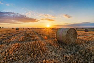 Obraz Hay Bales On Field Against Sky During Sunset - fototapety do salonu