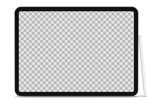 New Modern black tablet computer with blank horizontal screen paired with Stylus Pen. Portable laptop isolated on white background. Vector illustration EPS 10