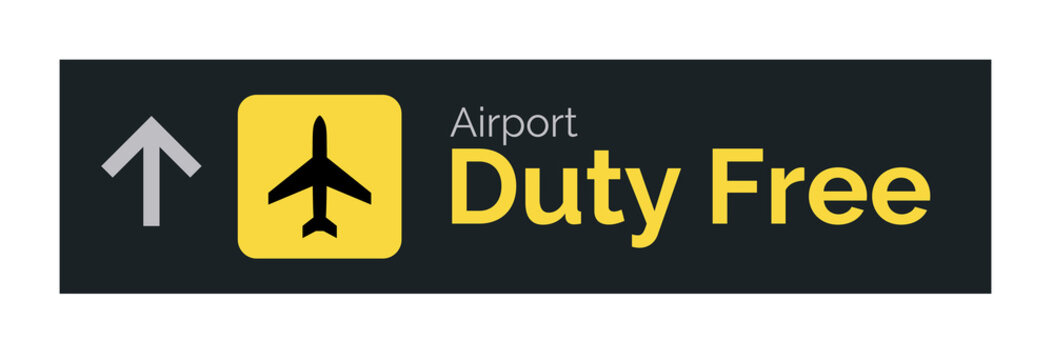 Airport duty free sign icon. Travel label vector duty free symbol.
