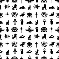 Hieroglyph and Egyptian symbols  illustration pattern seamless design for God of Egypt with  texture background