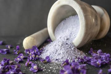 Printed kitchen splashbacks Lilac lilac viola violet petal sugar crystals close up used for decorating baking sweet cakes, also as spa papmering bath salts