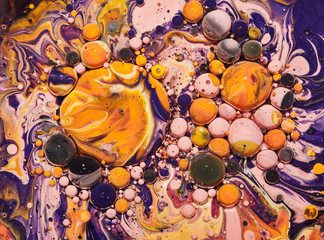 Wall Mural - Colourful acrylic bubbles.Fluid art marble texture. Backdrop  abstract iridescent paint effect. Liquid acrylic artwork  flows and splashes. Mixed paints for interior poster.