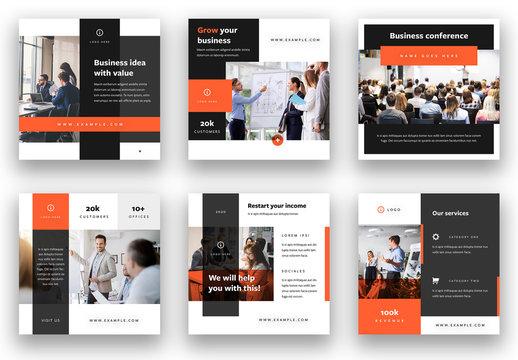 Social Media Kit Layout with Orange Elements