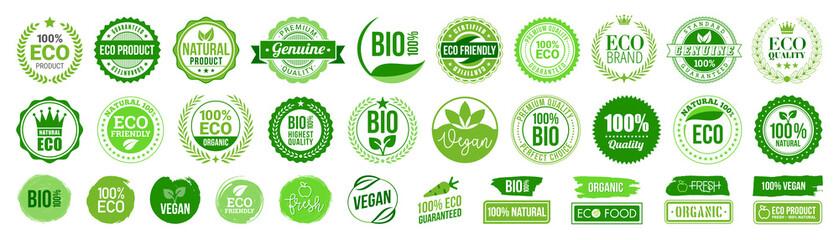 Organic natural bio labels set icon, healthy foods badges, fresh eco vegetarian food – stock vector - fototapety na wymiar