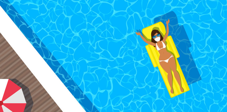 woman in bikini and protective mask in swimming pool top view tourism and travel global crisis vector illustration