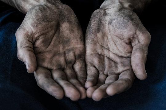 dirty men's hands begging, poverty, hunger