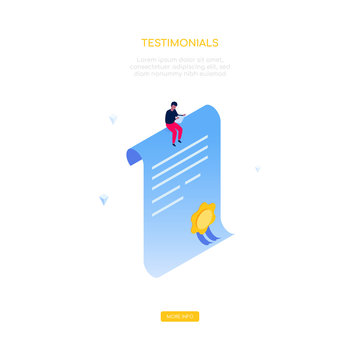 Testimonials concept - modern isometric vector web banner