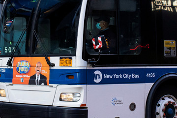 A bus drivers of New York City The Metropolitan Transportation Authority (MTA) bus system wears a face mask during the outbreak of the coronavirus disease (COVID-19) in New York City, New York